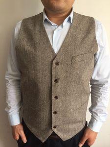 2019 Vintage Tweed Vest Wool Herringbone Groom Vests British Style Men's Suit Vests Slim Fit Men's Dress Vest Wedding Waistcoat Custom Made