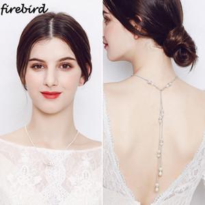 Collar trasero de plata de cristal de plata para mujer Perlas Collar de cadena de verano Decoración de la joyería de la boda de la novia Dama de honor