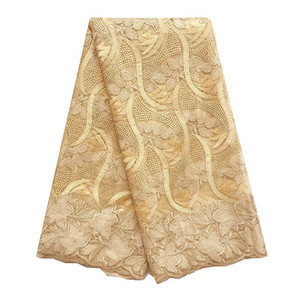 Gold Latest French Laces Fabric High Quality Nigeria Swiss Lace 2018 Embroidery Mesh African Laces Fabric For Wedding Dress