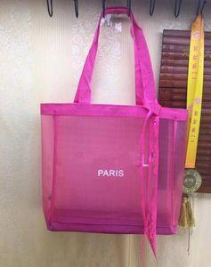 Saco de malha de compras clássico com fita padrão clássico saco de viagem praia mulheres saco de lavagem de maquiagem cosmética caixa de malha de armazenamento