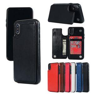 Cartão de carteira de luxo Dinheiro Slots Flip ID Photo Frame TPU Kickstand Caso Para iPhone X XS XS Max 8 7 6 5 Samsung S7 Borda S8 S9 Além disso nota 9 Note9