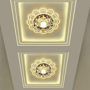 5W LED de cristal Flor Forma de teto Luzes Corredor Corredor Focos Entrada Iluminação LED criativa baixo luz de cristal do teto Lâmpadas