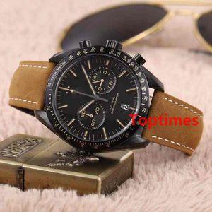 Luxus dunkle Seite des Mondes schwarz Nylon Stoffband Faltschließe 44 MM Quarz Chronograph Herrenuhr Geschwindigkeit Uhren Mann Armbanduhren
