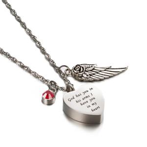 Bijoux urne de crémation Gravé Dieu vous a dans ses bras Je vous ai dans mon cœur avec le collier commémoratif du souvenir de cendres de pierre de naissance