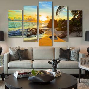 Modern Home Wall Art Decor Quadro Modular Pintura Da Lona Fotos HD Impressão Pintura 5 Painel Oceano Pôr Do Sol Praia Seascape Cartaz