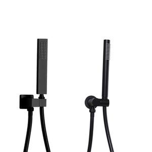 매트 블랙 브래스 경감 님이 handheld 샤워 헤드 회전 홀더 PVC 샤워 호스 욕실 액세서리 라운드 및 정사각형 선택