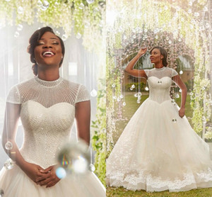 2018 Newest Nigeria African Ball Gown Wedding Dresses High Neck Cap Sleeves Sequins Beaded Appliques Tulle Shiny Wedding Bridal Gown