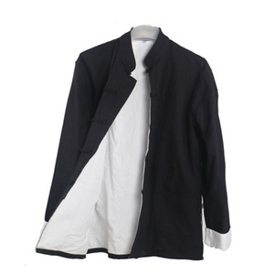 Men's Casual double deck Jacket Autumn Winter  Coat Traditional Chinese Tang Suit Coat Tai Chi Uniform Cotton Tops