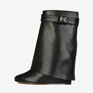 Tiburón de bloqueo de cuero genuino mujeres botas de cuña de altura cada vez mayor plegado sobre botas altas botas Martin Martin cuñas