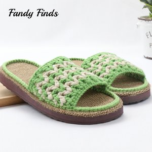 Nueva moda Home Slippers Cotton Crochet Alta calidad Unsex Indoor hecha a mano Flat Brathable mano tejidos Wool Ladies Slippers