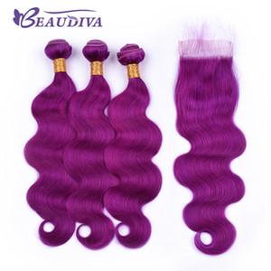 Kapatma ile Beau Diva Öncesi Renkli Mor Saç Paketler ile Dantel Kapatma Vücut Dalga Remy Brezilyalı insan saç Paketler