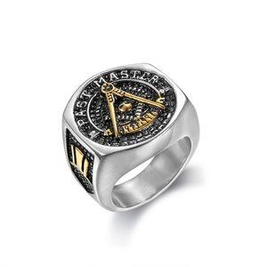 2018 Nuevos Hombres de Acero Inoxidable Oro Plata Dos tonos Más allá del Maestro Masónico anillos Joyería Freemason Mason Signet Ring