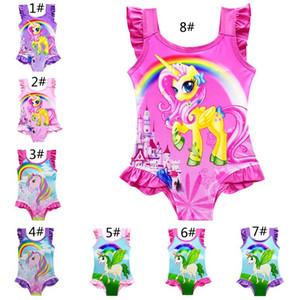 8 Estilos Niños Unicornio Traje de baño Niños Ropa de playa de una pieza Niños Traje de baño Sin mangas Calzoncillos Sling Baby Girls Trajes de baño Z11