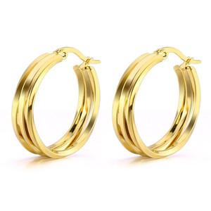 Venta al por mayor (TE-0024) Titanium steel Smooth 3 Circle Hoop Pendientes para joyería de las mujeres no se desvanecen de oro / color blanco