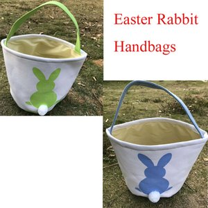 500 unids Pascua Conejo Cesta de Pascua Conejito Bolsas Conejo Impreso Lienzo Tote Bag Huevos Caramelos Cestas 4 colores