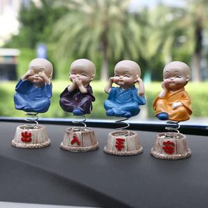 자동차 장식품 4pcs / set 수 지 장식 머리 장식 인형 장식 도미 사상자 Maitreya Buddha Figure Gift Desk Auto Pendant Charms