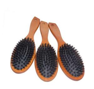 Doğal Domuzu Kıl Saç Fırçası Masaj Tarak, Anti-statik Saç Derisi Paddle Fırça Kayın Ahşap Saplı Saç Fırçası Şekillendirici Aracı