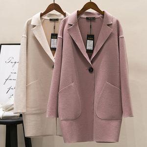 Nueva Primavera Otoño Moda Cocoon Shape Wool Coat Mujeres Loose Thin Single Button Abrigos prendas de vestir exteriores Windbreaker Tops de Lana Mw425
