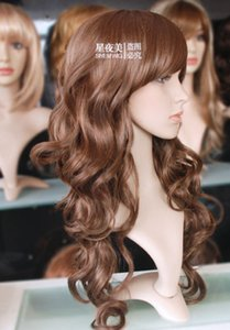 أعلى جودة الساحرة موجات طويلة لينة براون مجعد بانج سيدة شعر مستعار