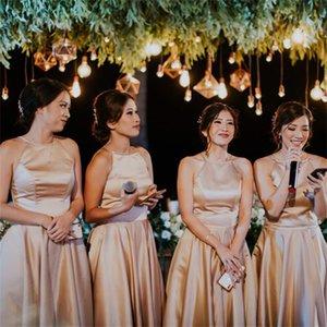 2018 лето короткие платья подружки невесты дешевые дефтарные шеи чайное чай Длина шампанского атласная горничная честь платья