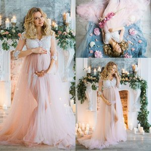 Sexy Pregnant Tulle Evening Dress Lace 3 4 Sleeve Illusion Maternity Women Prom Dress Vestido De Noche 2018 Plus Size Party Gown