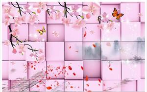 Personalizado foto papel de parede KTV Original rosa 3d cubos sonho pêssego TV fundo TV fundo 3D Mural papel de parede