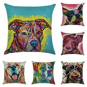 حار بيع الملونة النفط اللوحة وسادة غطاء 45x45 سنتيمتر لطيف الكلاب القطط وسادة الكتان غطاء غرفة ديكور وسادة القضية
