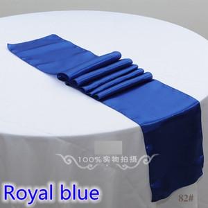 Bleu royal couleur satin chemin de table décoration de mariage pour le mariage moderne hôtel banquet décoration chemin de table en gros