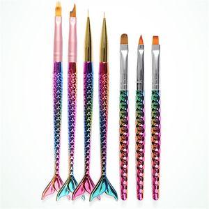 7 Diferentes Cabeza Sirena Nail Art Brushes UV Gel Cepillo de Extensión Diseño de la Flor Dibujo Pintura Pluma de Uñas Herramientas de BRICOLAJE