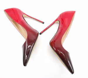 Free shipping real photo genuine leather sexy lady Gradient Color Point toe snake printed lady high heel shoes pump size 33-43 12cm 10cm 8cm