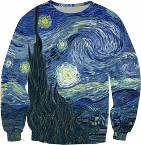 Yıldızlı Gece Kazak Gogh Yağlı Boya Kapüşonlular Günlük Bahar Kıyafetler Moda Giyim Kazak Tumblr Jumper S-5XL Tops