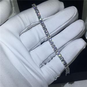 Pulsera de tenis de corte redondo de moda 5A zirconia cúbica Pulseras de compromiso de oro blanco para mujeres accesorias de boda