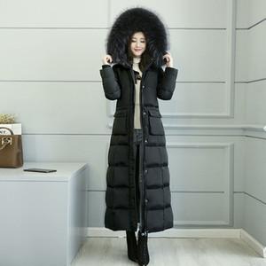 Invierno 2018 nueva chaqueta larga ultra larga abrigos cálidos gran cuello de piel engrosamiento pato blanco abajo parkas lujo