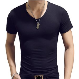 Pure Black Mens T-Shirt Cotton Short Sleeved V-Neck Men T Shirt Solid Color Fitness Tshirts For Male