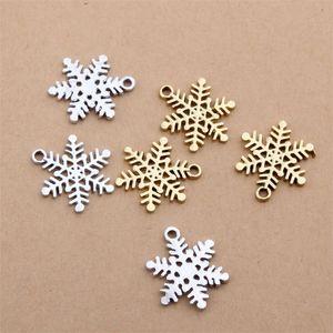 200pcs Weihnachten weiße Schneeflocke Anhänger Legierung DIY Fashion Charm Armband Halskette Schmuck Zubehör