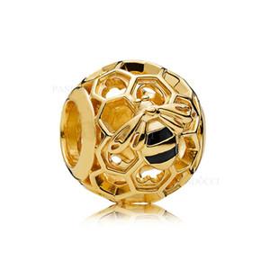 2018 New Estate autentico Argento 925 Oro Openwork smalto Honeybee fabbricazione dei monili di fascino del branello europeo adatto BRACCIALE fai da te