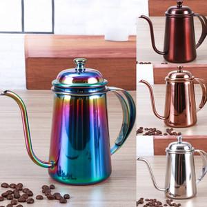 650 ML Kahve Pot Paslanmaz Çelik Gooseneck Kahve Makinesi Üzerinde Asılı Asılı Kulak Damla Kahve Uzun Borulu Pot Çay Su Isıtıcısı Araçları WX9-354
