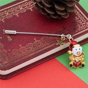 """Stick Pin Broches Chapéus De Natal Urso De Ouro Branco Esmalte Vermelho Jóias 62mm (2 4/8 """") x 35mm (1 3/8""""), 1 peça"""