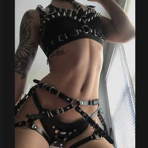 1 Set 100% Artesanais Sexy cravado Leather Harness Bra Top Peito BDSM Collar Harness cintura Leg Garter Cintos Suspensórios