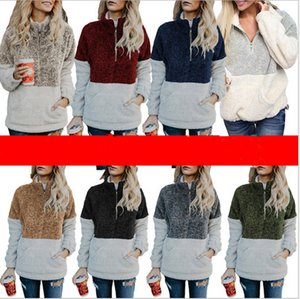 Шерпа пуловер Толстовки женщины Зима Осень флис толстовка негабаритных V-образным вырезом молния свитер с длинным рукавом куртка топы лоскутное осень толстовка