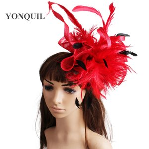 17 colors fascinating sinamay feather material fascinator hair accessories party headwear bridal hat suit for all season MYQ113