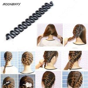 MOONBIFFY Kadınlar Lady Fransız Saç Örgü Aracı Sihirli Saç Ile Braider Rulo Kanca Büküm Şekillendirici Bun Maker Bant Aksesuarları