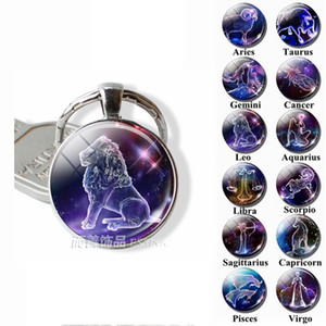 12 Zodiac Signs Keyrings Constellation Cute Cabochon Keychain Jewelry Scorpio Sagittarius Capricorn Virgo Pendant Birthday Gift