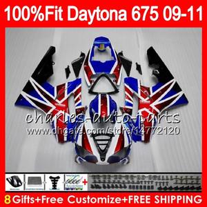 Inyección para Triumph Daytona 675 09 10 11 12 Carrocería 107HM.5 bandera azul roja Daytona-675 Daytona675 Daytona 675 2009 2010 2011 2012 Carenado