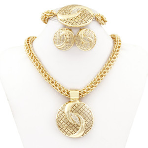 whole saleChinese Tai Chi Jewelry Dubai Golden Plated Big Necklace Jewelry Sets Fashion Nigerian Wedding African crystal Costume