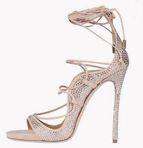 2018 Sexy Crystal Riemchensandalen High Heel Cut-out Peep Toe Sommerkleid Schuhe Frau Ankle Straps Gladiator Sandale Stiefel