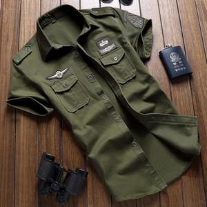 Мужская хлопковая Cargo Рубашки Повседневный Твердая с коротким рукавом работы Марка Pilot Shirt Военный камуфляж сорочка Плюс размер M -6xl Бесплатная доставка