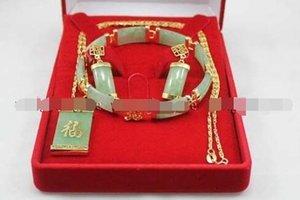 Jade Green Green Orecchini Inlay Natural Bracelet Collana Collana Link Pendant Set FSOFS