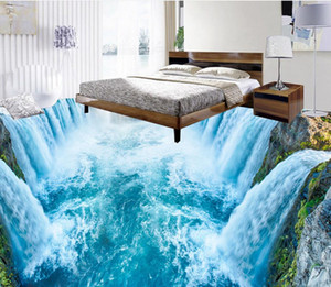 Décoration de la maison 3D cascade salon peinture murale Imperméable à l'eau plancher peinture murale auto-adhésif 3D