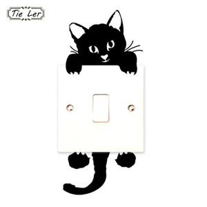 10 PCS Engraçado Gato Bonito Interruptor Adesivos de Parede Adesivos de Decoração Para Casa Decoração Do Salão Parlor